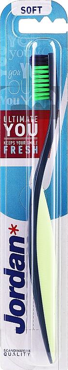 Toothbrush Soft, dark blue-white, with light green-dark blue bristles - Jordan Ultimate You Soft — photo N1