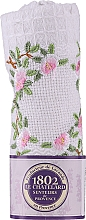 Fragrances, Perfumes, Cosmetics Cotton White Hand Towel with Embroidered Rose Branch - Le Chatelard 1802