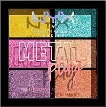 Fragrances, Perfumes, Cosmetics Lid, Face & Body Pigment Palette - NYX Professional Makeup Metal Play Pressed Pigment Palette