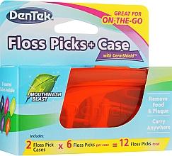 Fragrances, Perfumes, Cosmetics Dental Floss with Handle Set + 2 Travel Cases, orange + blue - Dentek Moulthwash Blast