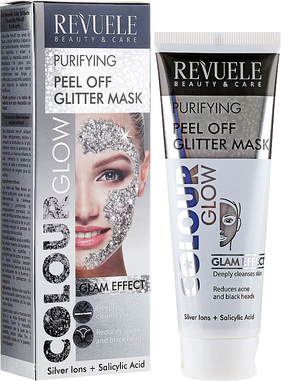 Silver Purifying Peel-Off Mask - Revuele Color Glow Glitter Mask Pell-Off Purifying