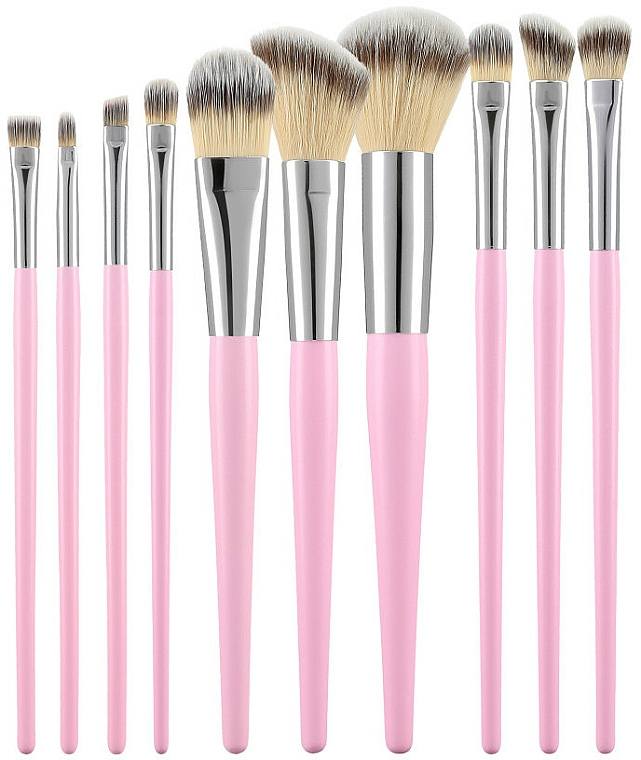 Professional Makeup Brushes Set, pink, 10 pcs - Tools For Beauty