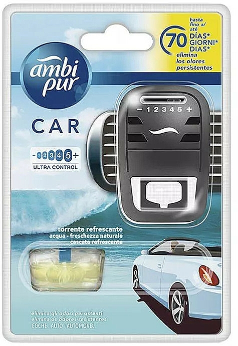 "Car Freshener Set ""Water"" - Ambi Pur (freshener/1szt+refill/7ml) — photo N1"