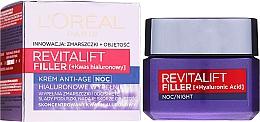 Fragrances, Perfumes, Cosmetics Night Anti-Aging Care Cream - L'Oreal Paris Revitalift Filler Hyaluronic Acid Night Cream