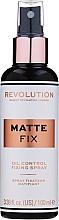 Fragrances, Perfumes, Cosmetics Makeup Fixing Spray - Makeup Revolution Matte Fix Oil Control Fixing Spray