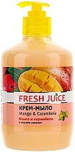 "Fragrances, Perfumes, Cosmetics Camellia Oil Cream-Soap ""Mango and Carambola"" with Dispenser - Fresh Juice Mango & Carambol"