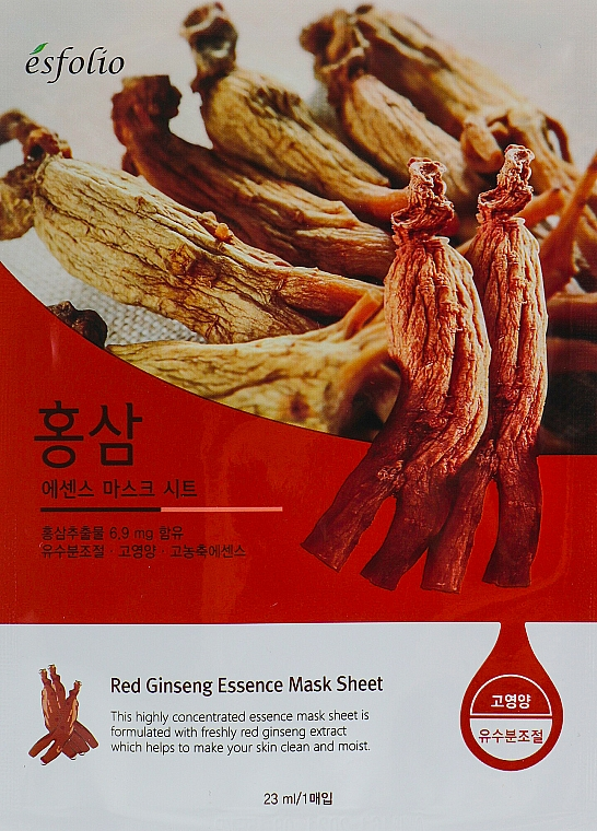 Ginseng Essence Sheet Mask - Esfolio Red Ginseng Essence Mask Sheet