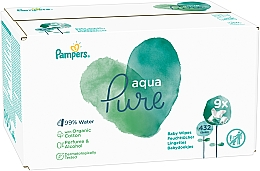 Fragrances, Perfumes, Cosmetics Baby Wet Wipes, 9x48 pcs - Pampers Aqua Pure Wipes