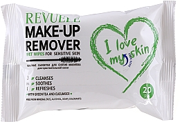 Fragrances, Perfumes, Cosmetics Green Tea & Cucumber Makeup Remover Wet Wipes for Sensitive Skin - Revuele Make-up Remover I Love My Skin Wet Wipes For Sensitive Skin