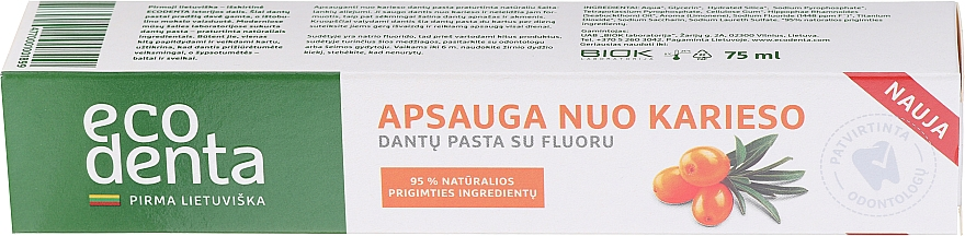 Cavity Protection Toothpaste with Sea Buckthorn Oil - Ecodenta Cavity Protection Toothpaste