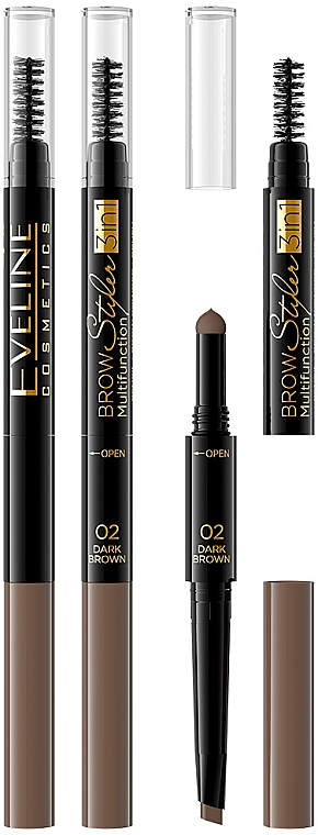 Brow Pencil 3 in 1 - Eveline Cosmetics Brow Styler 3in1 Multifunction