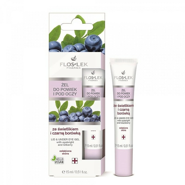 Lid and Under Anti-Aging Eye Gel with Eyebright and Bilberry - Floslek Lid And Under Eye Gel With Eyebright & Bilberry