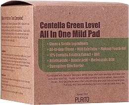 Fragrances, Perfumes, Cosmetics Moisturizing Cleansing Centella Pads - Purito Centella Green Level All In One Mild Pad