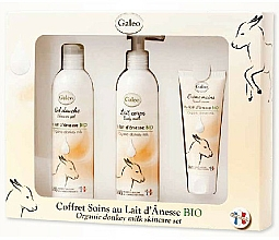 Fragrances, Perfumes, Cosmetics Set - Galeo Organic Donkey Milk Scincare Set (sh/gel/250ml + b/milk/250ml + h/cr/75ml)