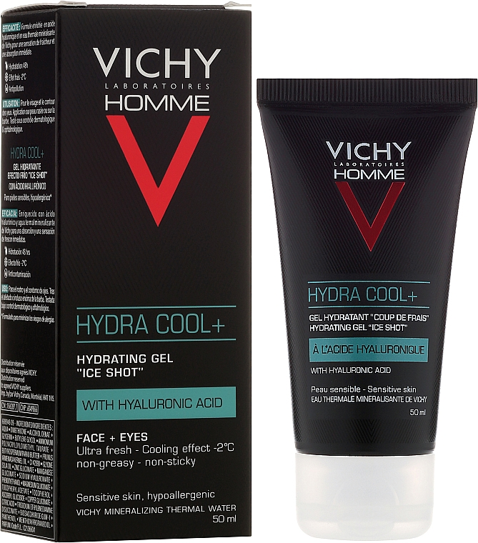 Moisturizing, Cooling Face and Eye Gel - Vichy Homme Hydra Cool+