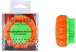 "Fragrances, Perfumes, Cosmetics Compact Hair Brush ""Chamomile"", orange/green - Rolling Hills Brosse Demelante Flower"