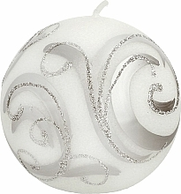 Fragrances, Perfumes, Cosmetics Decorative Candle, ball, white with curls, 10cm - Artman Christmas Ornament