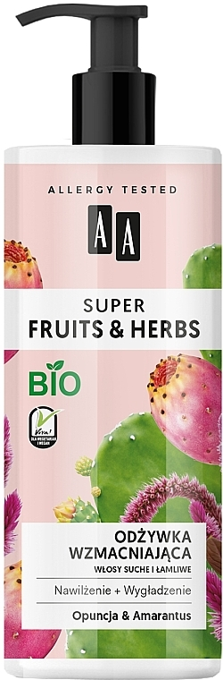 """Strengthening Hair Conditioner """"Prickly Pear & Amaranth"""" - AA Super Fruits Herbs Conditioner"""