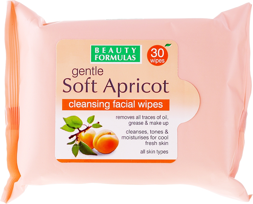 Cleansing Facial Wipes - Beauty Formulas Gentle Soft Apricot Cleansing Facial Wipes