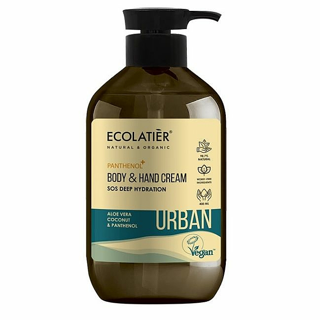 SOS Deep Moisturizing. Aloe Vera, Coconut and Panthenol Hand and Body Cream - Ecolatier Urban Moisturizing Body & Hand Cream