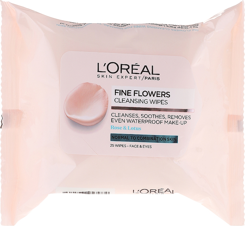 Makeup Remover Wipes - L'Oreal Paris Skin Expert Fine Flowers Normal Combination Cleansing Wipes