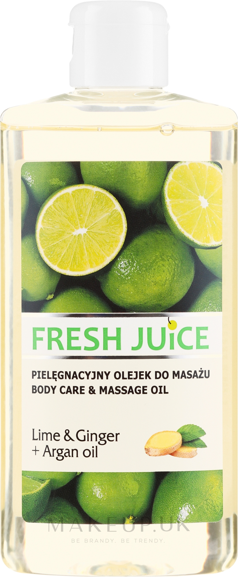 "Massage & Care Oil ""Lime & Ginger + Argan Oil"" - Fresh Juice Energy Lime&Ginger+Argan Oil — photo 150 ml"