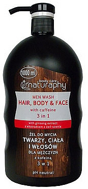 Men Shower Gel and Shampoo - Bluxcosmetics Naturaphy Hair, Body & Face Man Wash With Caffeine 3in1