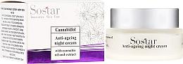 Fragrances, Perfumes, Cosmetics Hemp Extract Anti-Age Night Face Cream - Sostar Cannabidiol Anti Ageing Night Cream With Cannabis Extract