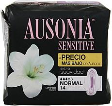 Fragrances, Perfumes, Cosmetics Pantiliners, 14pcs - Ausonia Sensitive Normal With Wings
