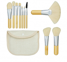 "Fragrances, Perfumes, Cosmetics Makeup Brush Set ""Bamboo White"" 10pcs + bag - Tools For Beauty"