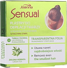 Fragrances, Perfumes, Cosmetics Depilatory Wax Face Strips with Green Tea - Joanna Sensual Depilatory Face Strips With Green Tea Extract