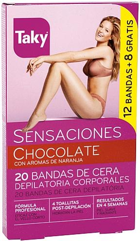 Body Depilation Wax Strips - Taky Chocolate Body Wax Strips With Orange Fragrance Box