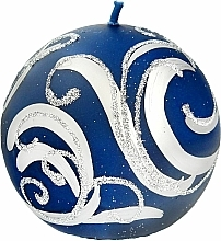 Fragrances, Perfumes, Cosmetics Decorative Candle, ball, dark blue with ornament, 8 cm - Artman Christmas Ornament