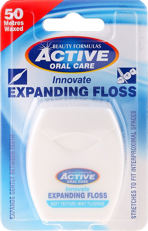 Soft Dental Floss with Mint and Fluor - Beauty Formulas Active Oral Care Expanding Floss Mint With Fluor 50m