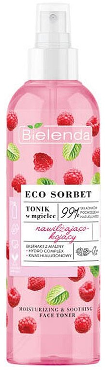 Raspberry Face Toner Spray - Bielenda Eco Sorbet Moisturizing & Soothing Face Toner