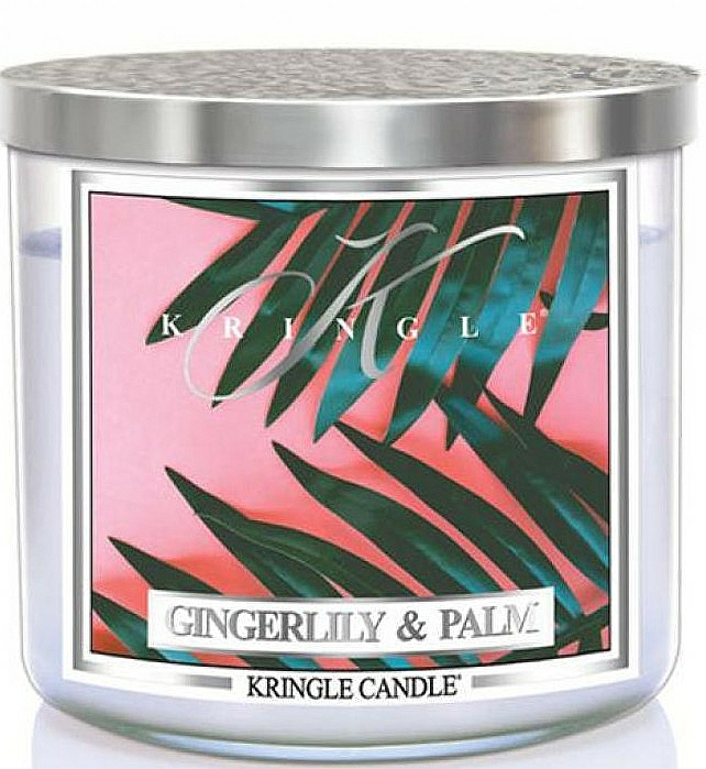 Scented Candle in Glass - Kringle Candle Gingerlily & Palm — photo N1