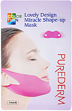 Fragrances, Perfumes, Cosmetics Bandage Mask for Chin and Cheekbones - Purederm Lovely Design Miracle Shape-up V-line Mask