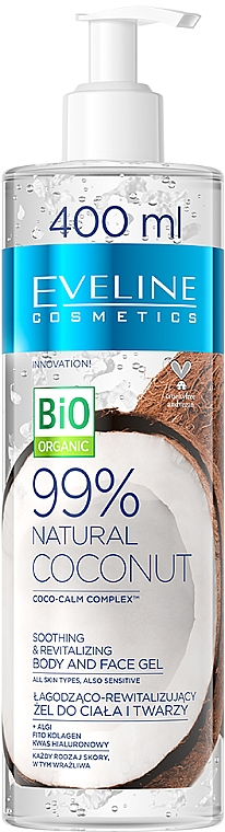 Face & Body Gel - Eveline Cosmetics 99% Natural Coconut — photo N1