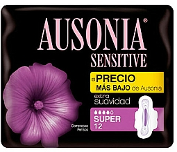 Fragrances, Perfumes, Cosmetics Pantiliners, 12 pcs - Ausonia Sensitive Super With Wings