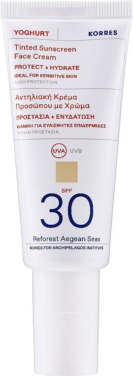 Tinted Sunscreen Face Cream - Korres Yoghurt Tinted Sunscreen Face Cream SPF30 — photo N1