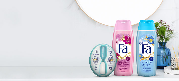 Buy Fa promotional products for the amount of £5 or more and get a free hourglass shower timer