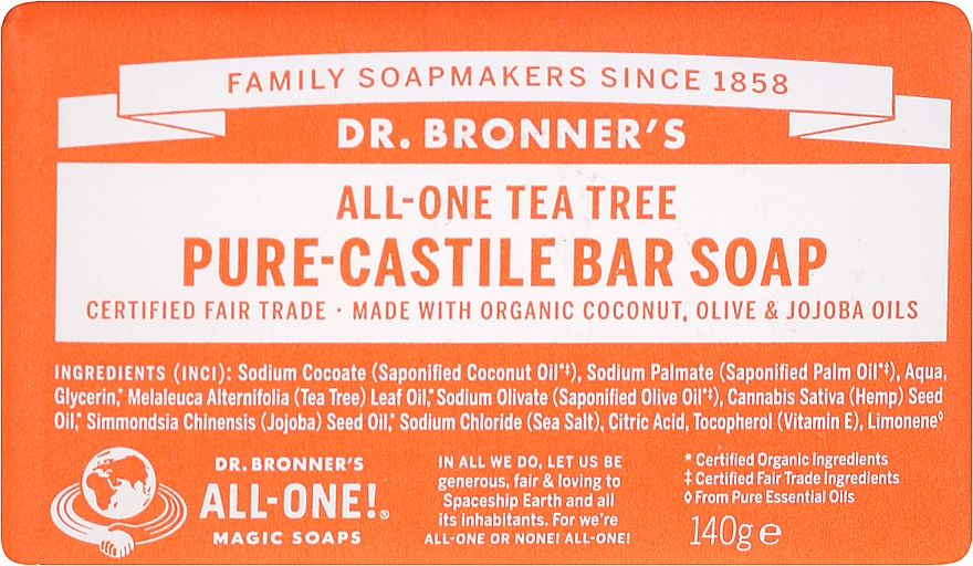 "Soap ""Tea Tree"" - Dr. Bronner's Pure Castile Bar Soap Tea Tree"