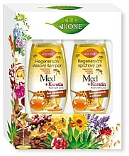 Fragrances, Perfumes, Cosmetics Set - Bione Cosmetics Honey + Q10 (shm/260ml+sh/gel/300ml)