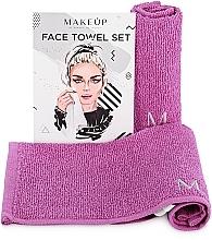 "Fragrances, Perfumes, Cosmetics Travel Facial Towel Set, lilac ""MakeTravel"" - Makeup Face Towel Set"