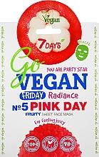 "Fragrances, Perfumes, Cosmetics Facial Sheet Mask ""For Feeling Juicy"" - 7 Days Go Vegan Friday Pink Day"