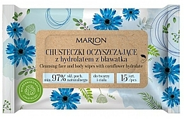Fragrances, Perfumes, Cosmetics Cleansing Cornflower Hydrolat Face & Body Wipes, 15 pcs - Marion