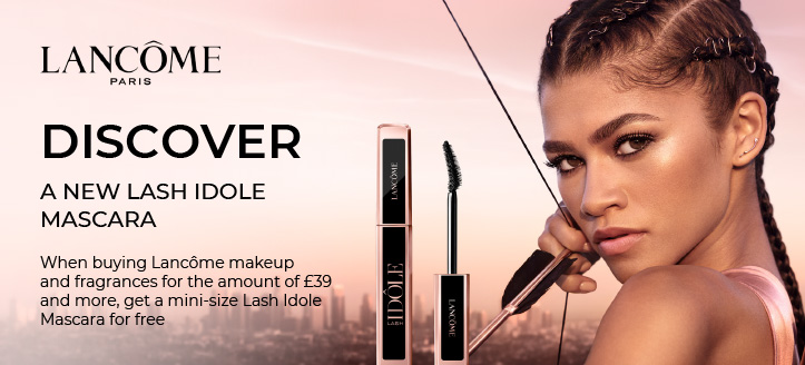When buying Lancôme makeup and fragrances for the amount of £39 and more, get a mini-size Lash Idole Mascara for free