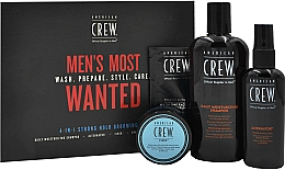 Fragrances, Perfumes, Cosmetics Set - American Crew Men's Most Wanted Strong Hold (shm/250ml + cr/50g + spray/100ml + balm/7.4ml)