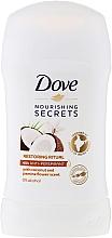 "Fragrances, Perfumes, Cosmetics Deodorant Stick ""Coconut and Jasmine"" - Dove Nourishing Secrets Restoring Ritual Deodorant"
