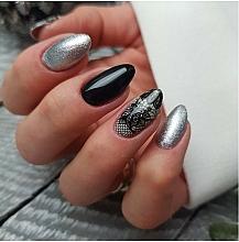 Nail Art Lace - Semilac 06 Transfer Nagelfolie Semilac Black Lace — photo N3
